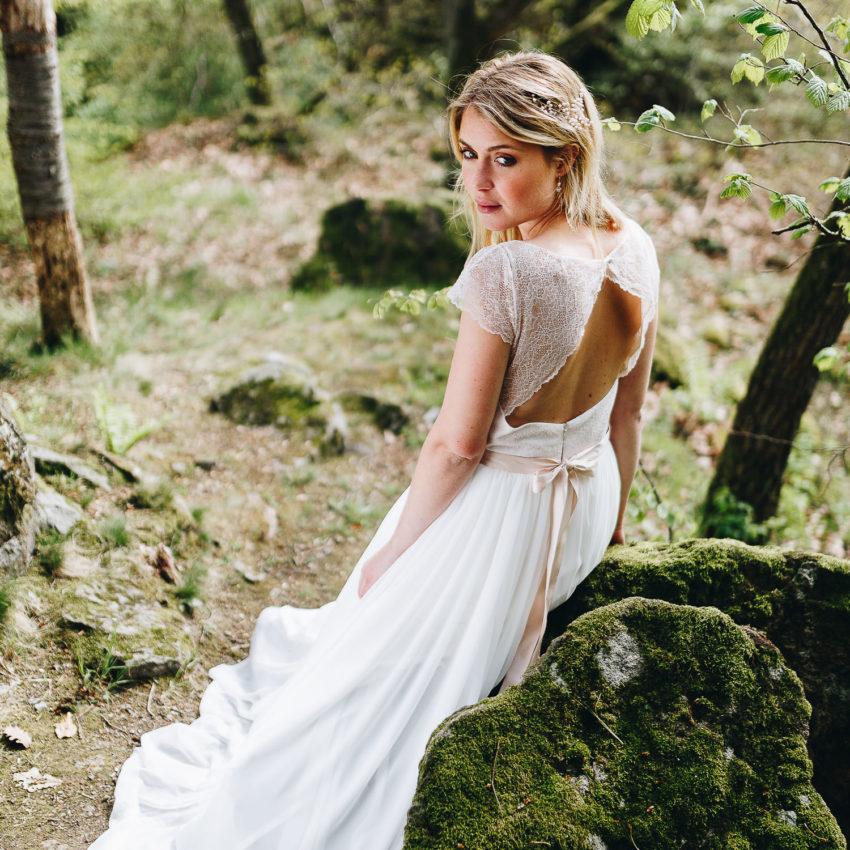 Coralie mit Chiffonrock – Brautkleid rückenfrei mit Spitze