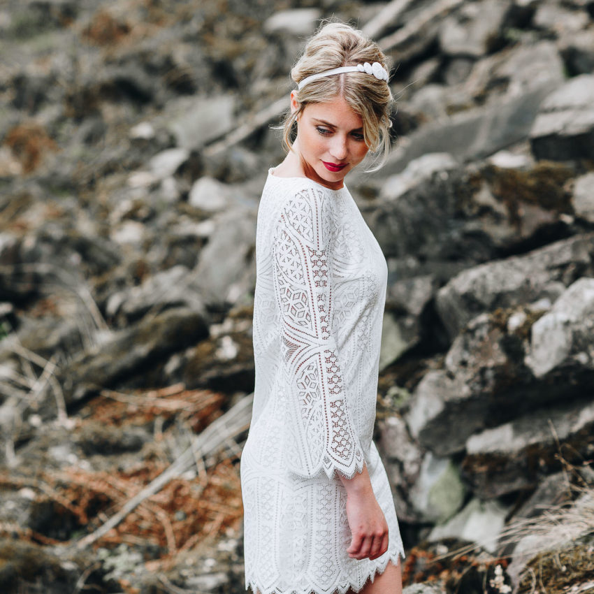 Elodie – Standesamtkleid, Hippie Spitze, kurz