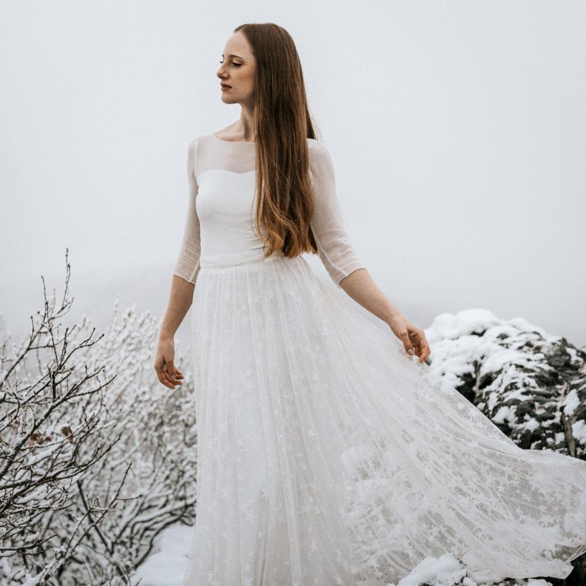 Stella – Brautkleid in Ivory mit Überrock aus Sternen-Tüll