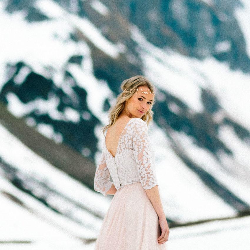 April – Brautkleid in Blush, Spitzentop und Tüllrock
