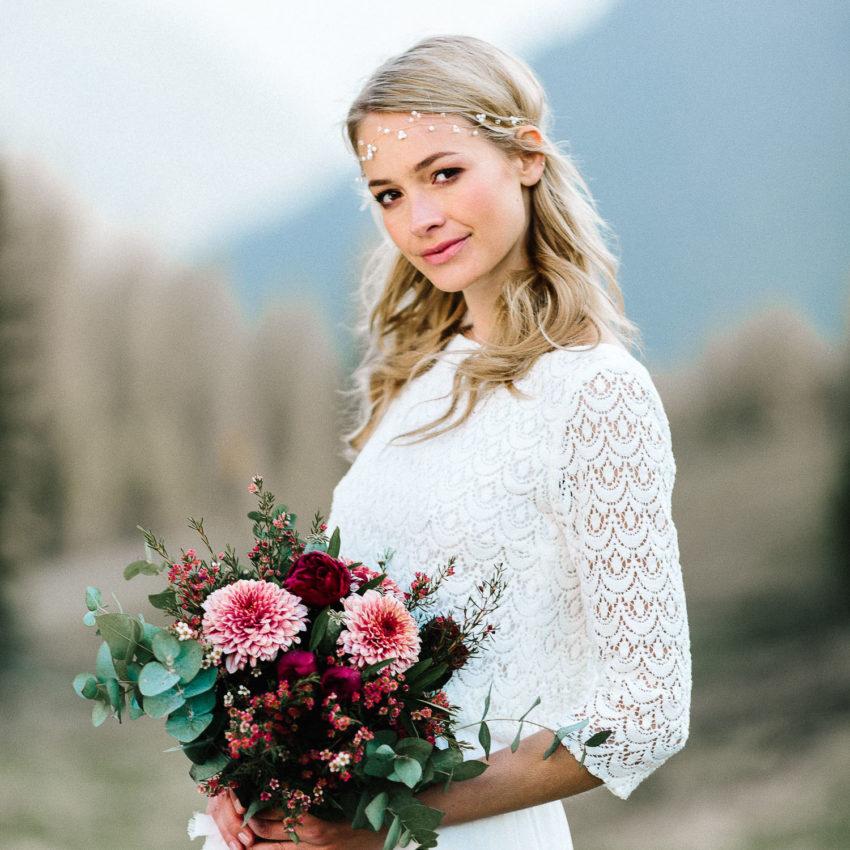 Kate – Schlichtes Hochzeitskleid mit Spitze und Chiffonrock