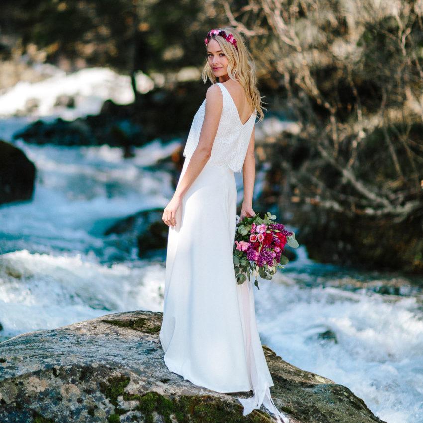 Ruby – Hochzeitskleid, schlicht, mit Spitze und Trägertop