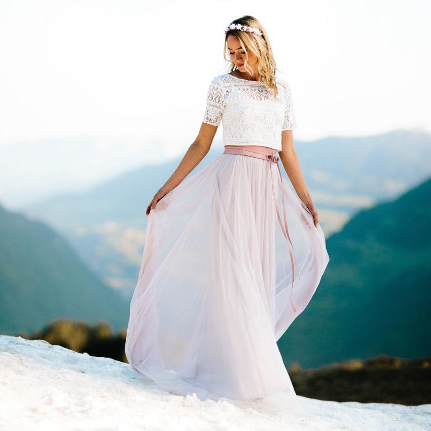 Violet – Boho Brautkleid mit Spitze und Tüllrock