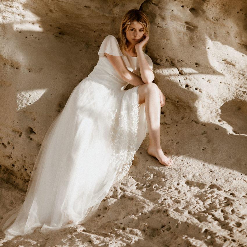 Amy – Romantisches Brautkleid mit Chiffontop und Überrock mit Schleppe