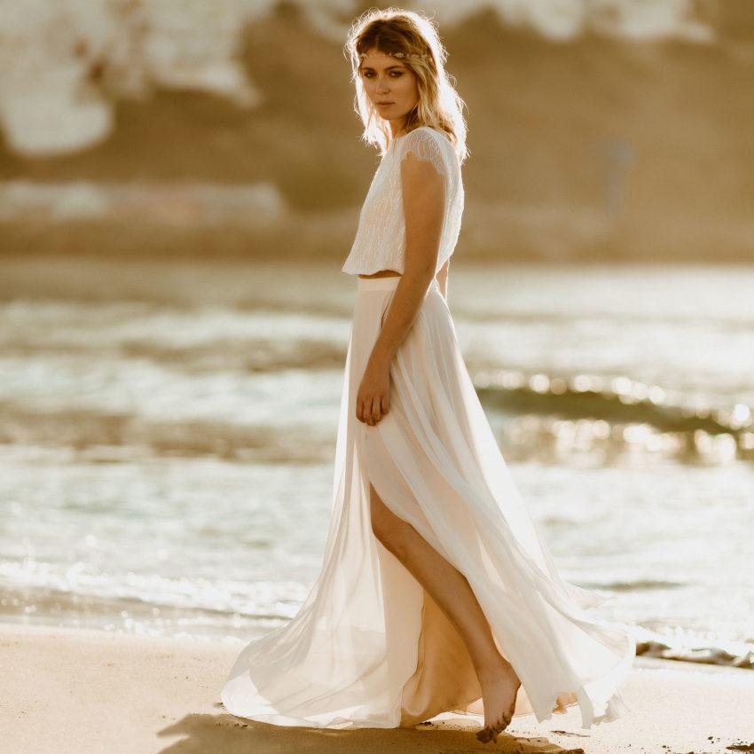 Isla 2 – Langes Brautkleid mit Glitzer-Paillettentop und Rock mit Beinschlitz