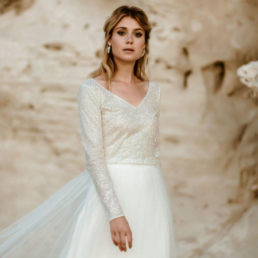 Lizy 1 – Zweiteiliges Hochzeitskleid mit Glitzer-Top und Tüllrock