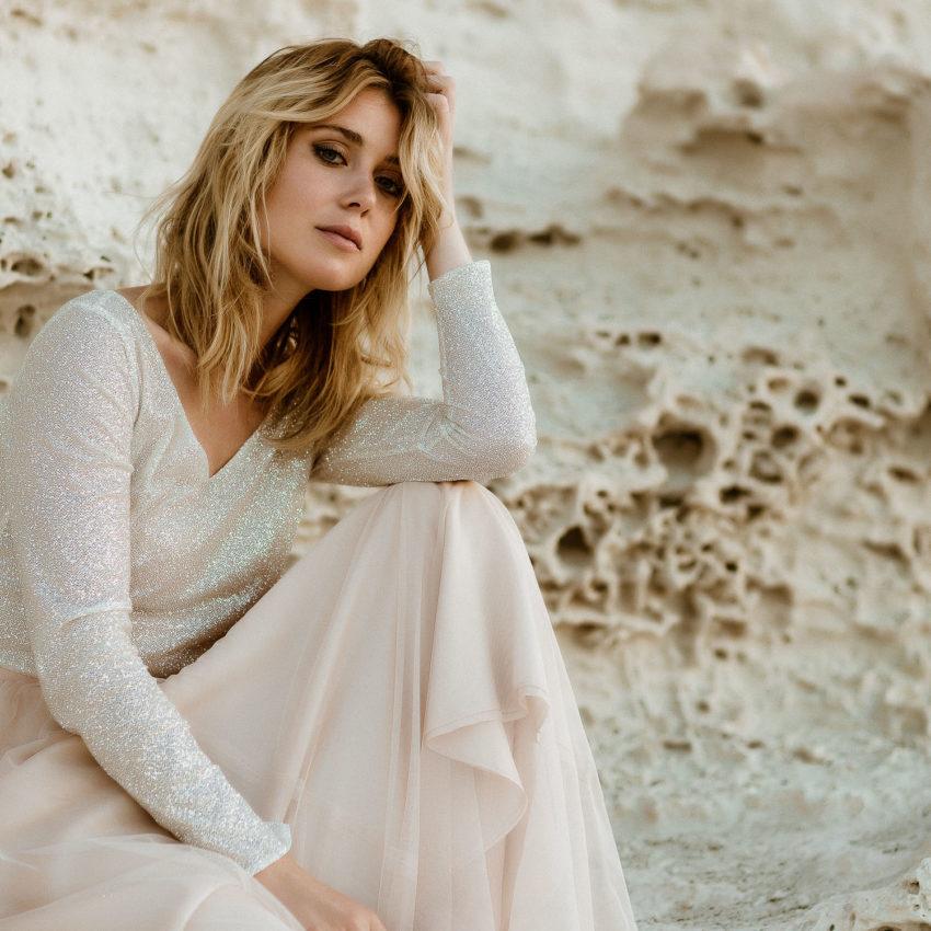 Lizy 2 – Boho Hochzeitskleid mit Glitzer-Top und Brautrock in Blush