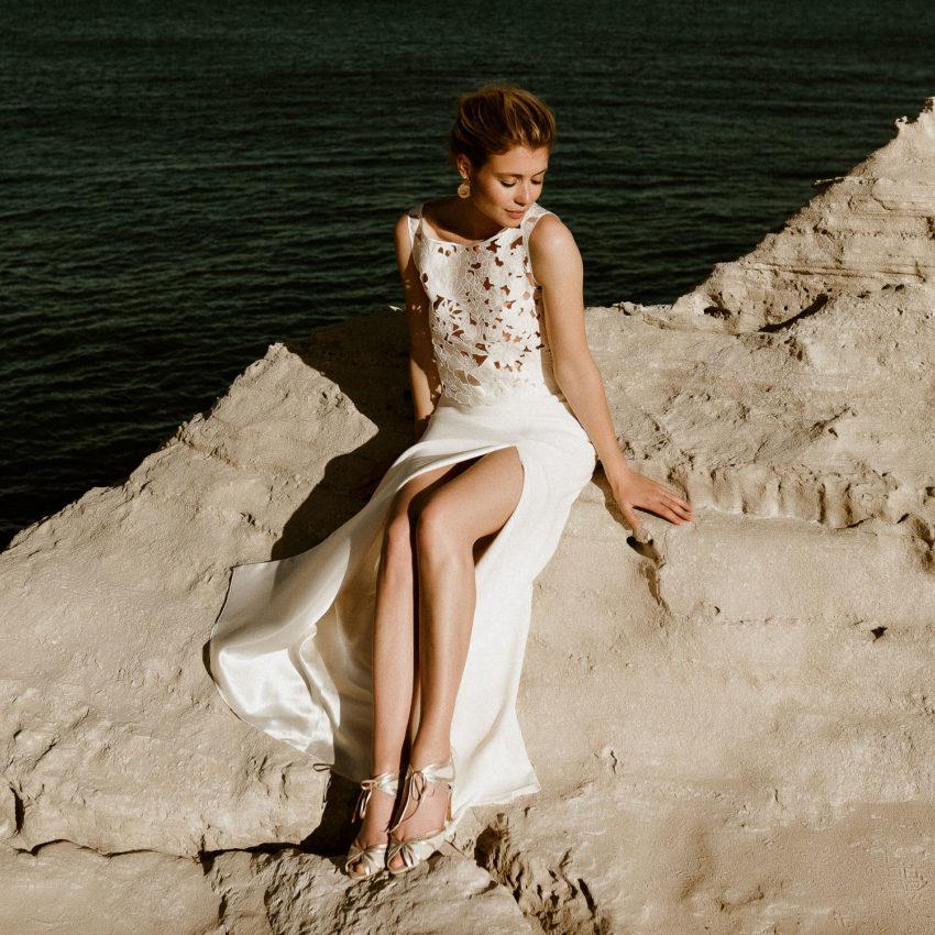 Sienna Top – Brautkleid aus floraler Loch-Spitze und langem Brautrock