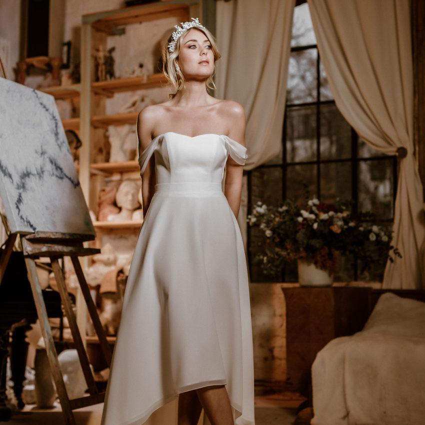 Flora – Vokuhila-Brautkleid mit Corsage und Brautrock im Layering Look