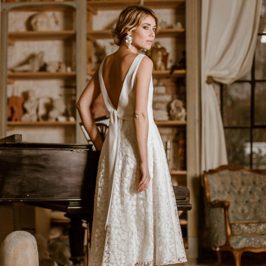 Liza – Midi-Brautkleid mit Rock aus Botanikspitze und rückenfreiem Top