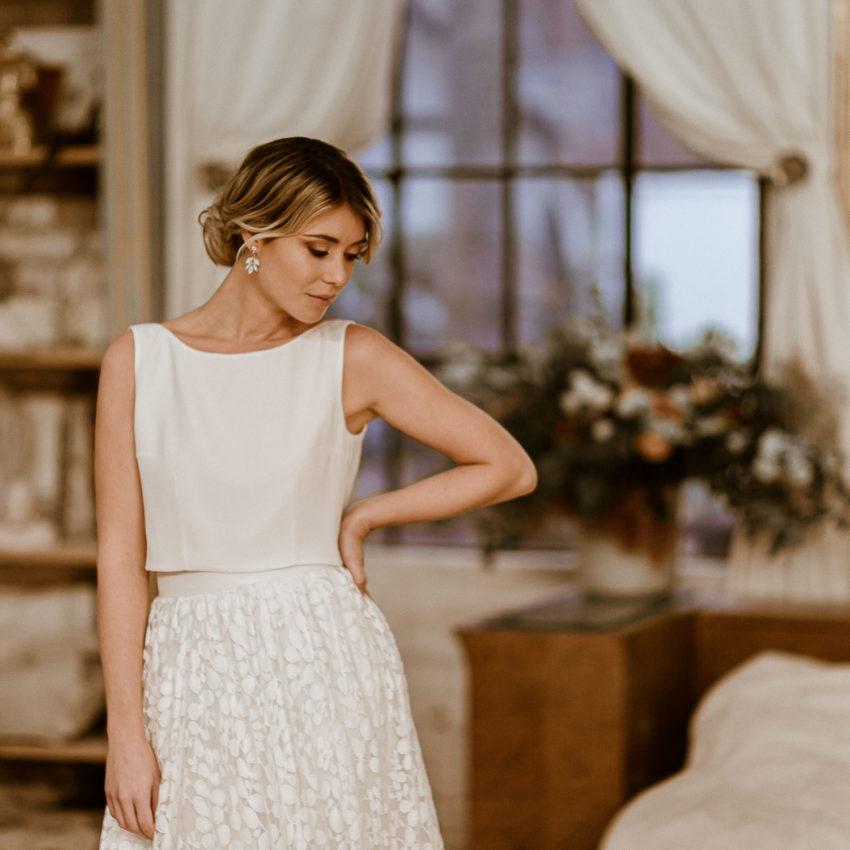 Liza Überrock – Abnehmbarer Rock aus Botanik-Tüll zum langen Brautkleid