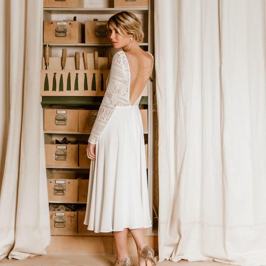 Shelly – Midi-Brautkleid aus Boho-Spitze und Crêpe in Ivory