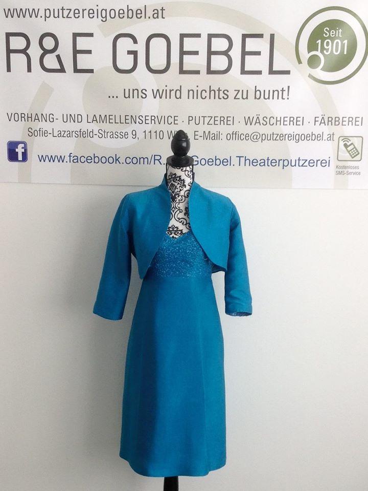 noni- kurzes nachhaltiges Brautkleid mit passendem Jäckchen, nach der Hochzeit im hellem Blau eingefäbt von einer Brautkleidfärberei