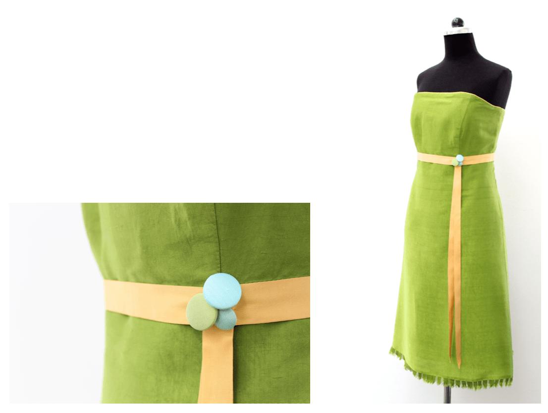 noni - eingefärbtes Brautkleid in frischem Grün mit passendem Band und Paspel in Gelb