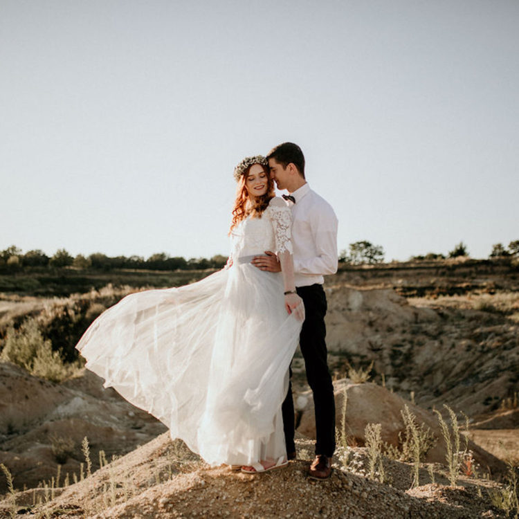 Blauer Tüllrock zur Hochzeit