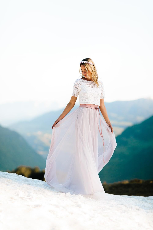 Boho Brautkleid mit Spitze und Tüllrock
