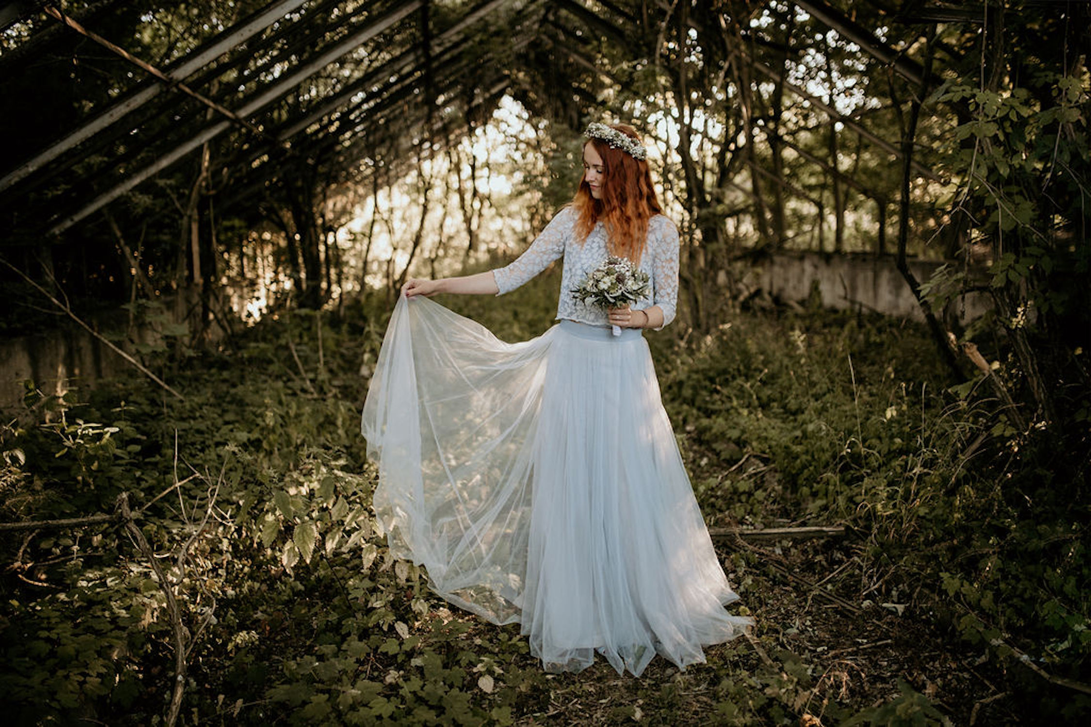 Boho Brautkleid in Blau (Foto: Take a Pic)
