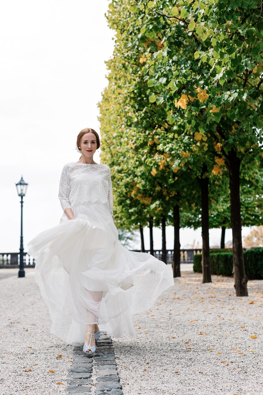 Braut Inspiration im Schloss Bensberg mit zweiteiligen Brautkleidern  (Foto: Doreen Kühr)
