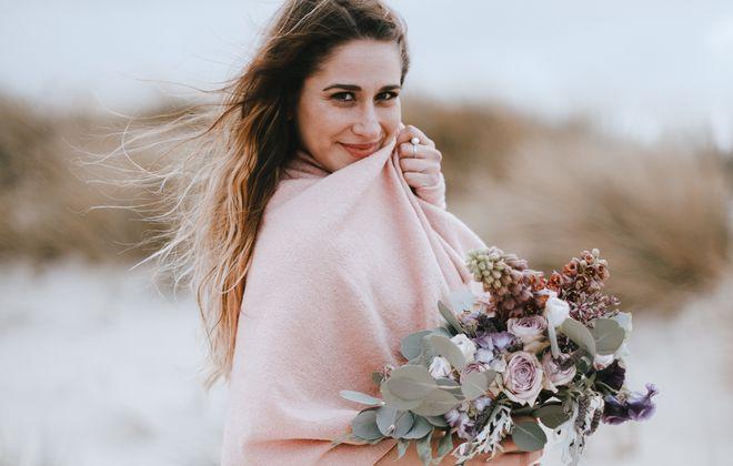 Braut Stola Rosa zum Brautkleid
