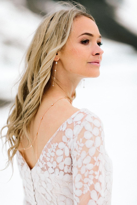 Brautkleid in Blush mit Spitzentop und Tüllrock