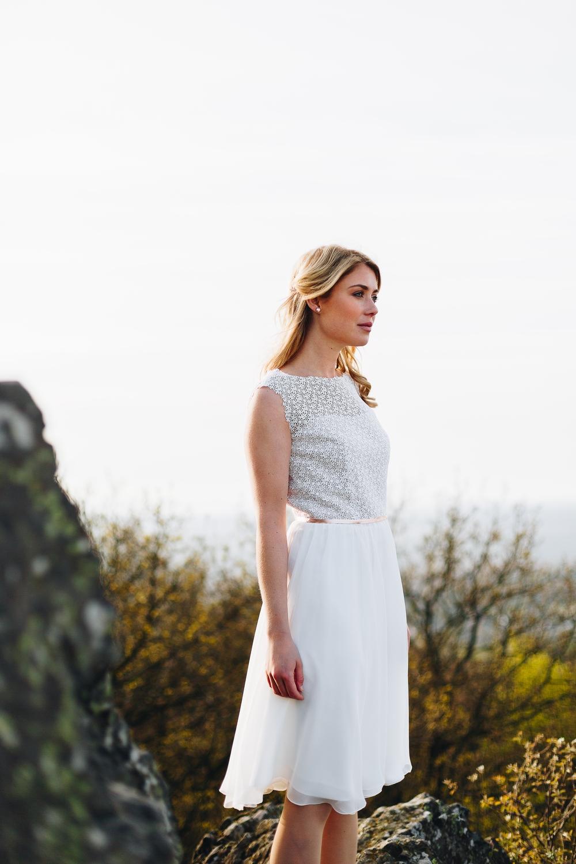 Brautkleid kurz, mit Spitze