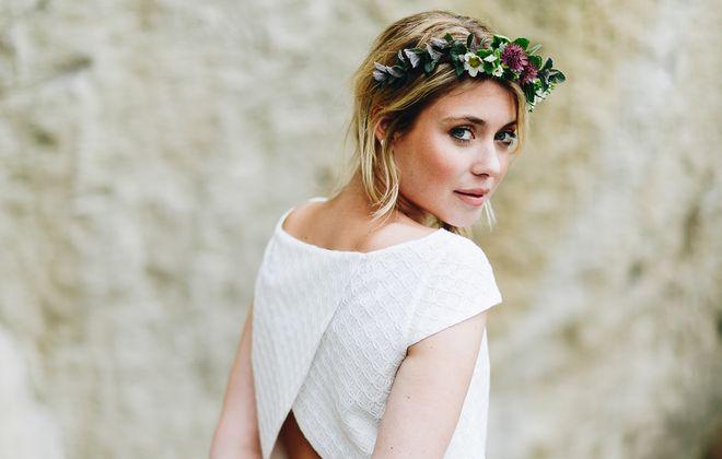 Brautkleid mit Tüllrock in Rosa und Braut Bluse