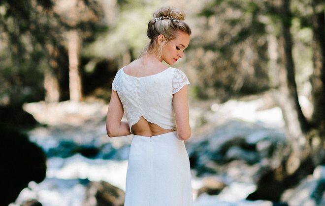 Brautkleid rückenfrei, mit Spitze und Ärmel