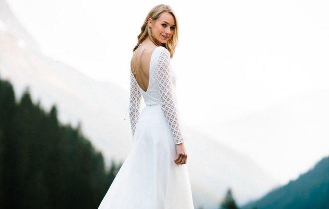 Brautkleid, schlicht, mit geometrischer Spitze für die Hochzeit (Foto: Jennifer Nilsson, Le Hai Linh)