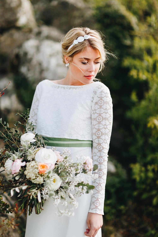 Brautkleid im vintage Boho Stil mit Spitze