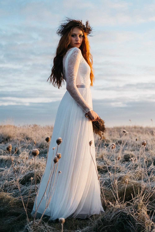Brautkleider mit Tüllrock und Spitzentop