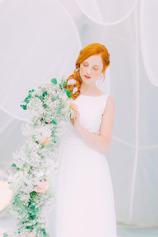 Brautkleider mit Tüll, fliessend