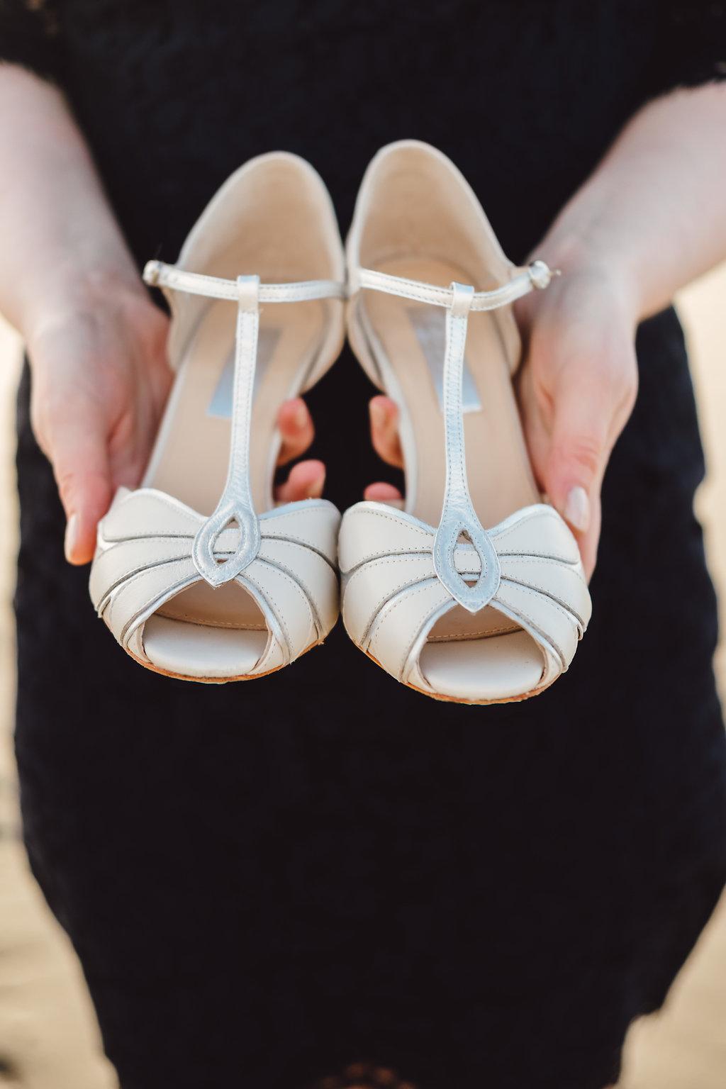 Brautschuhe Ivory und Silber