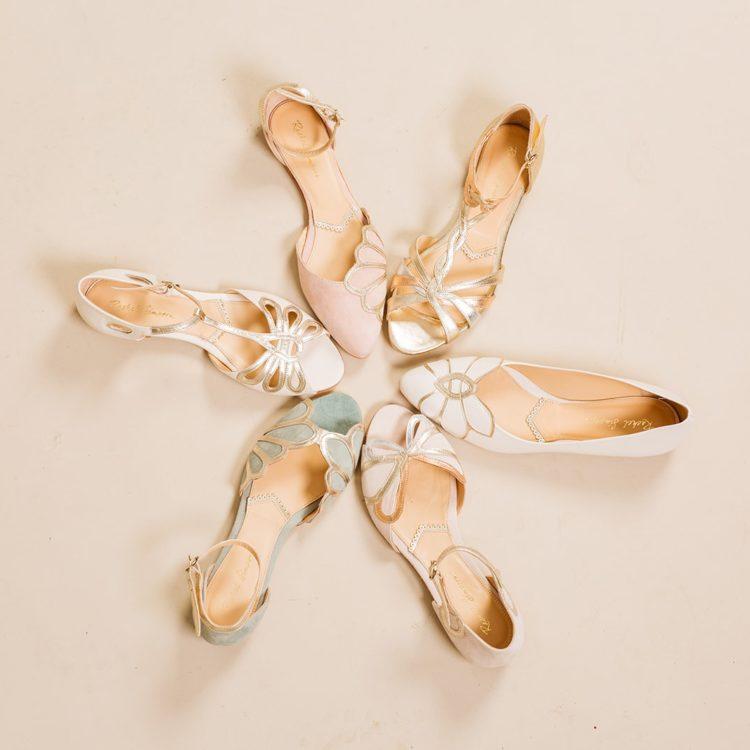 Flache farbige Brautschuhe von Rachel Simpson, Gruppenbild