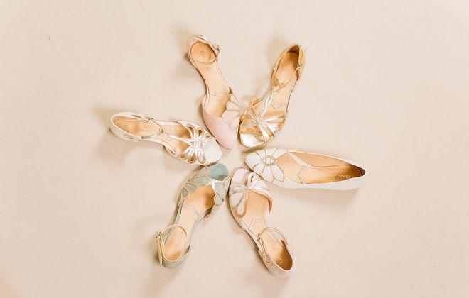 Flache, farbige Brautschuhe von Rachel Simpson, Gruppenbild