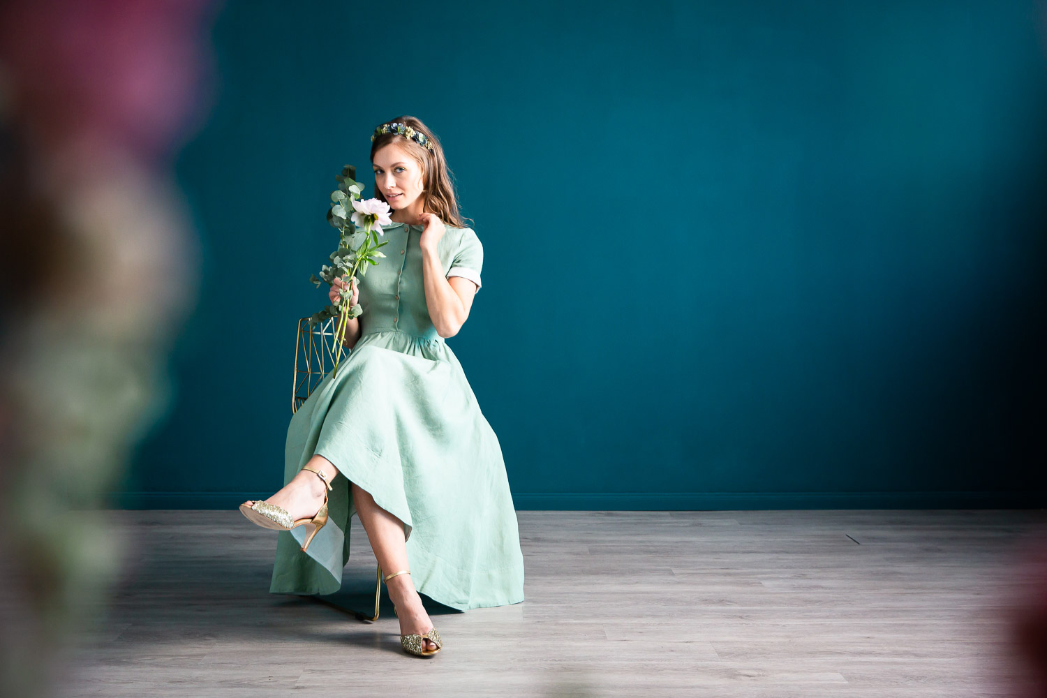 noni, kurzärmeliges Leinenkleid in Mint
