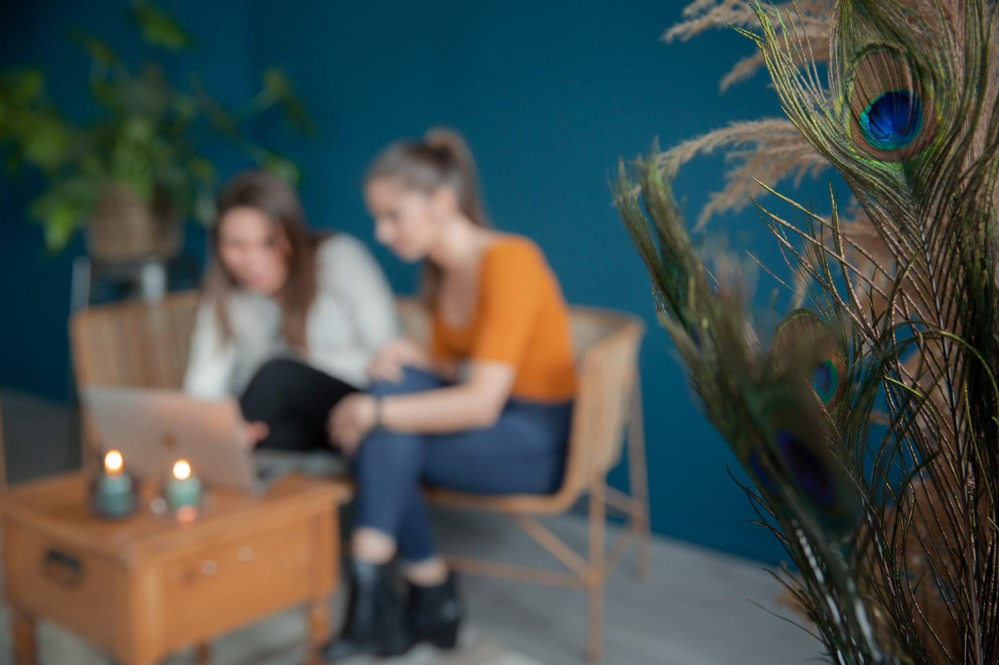 noni Brautkleid online kaufen, Freundinnen im Wohnzimmer bei Onlinekauf mit Laptop
