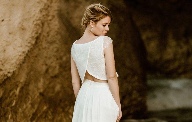 noni kurzärmeliges Hochzeitskleid mit Pailletten und Chiffonrock (Foto: Le Hai Linh)