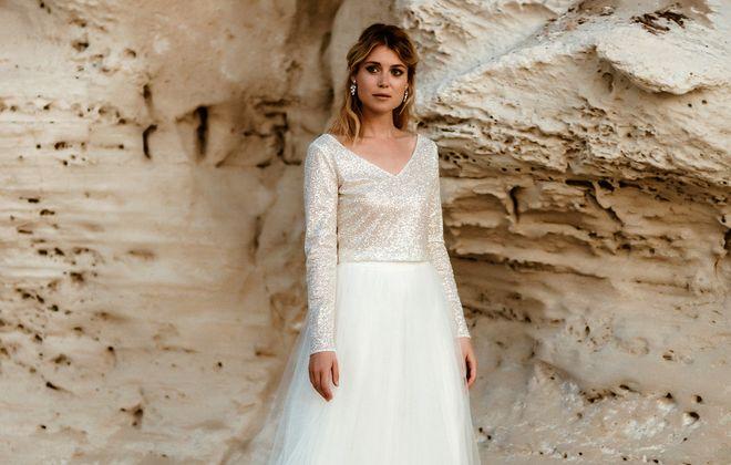 noni zweiteiliges Hochzeitskleid mit Glitzer-Top und Tüllrock  (Foto: Le Hai Linh)
