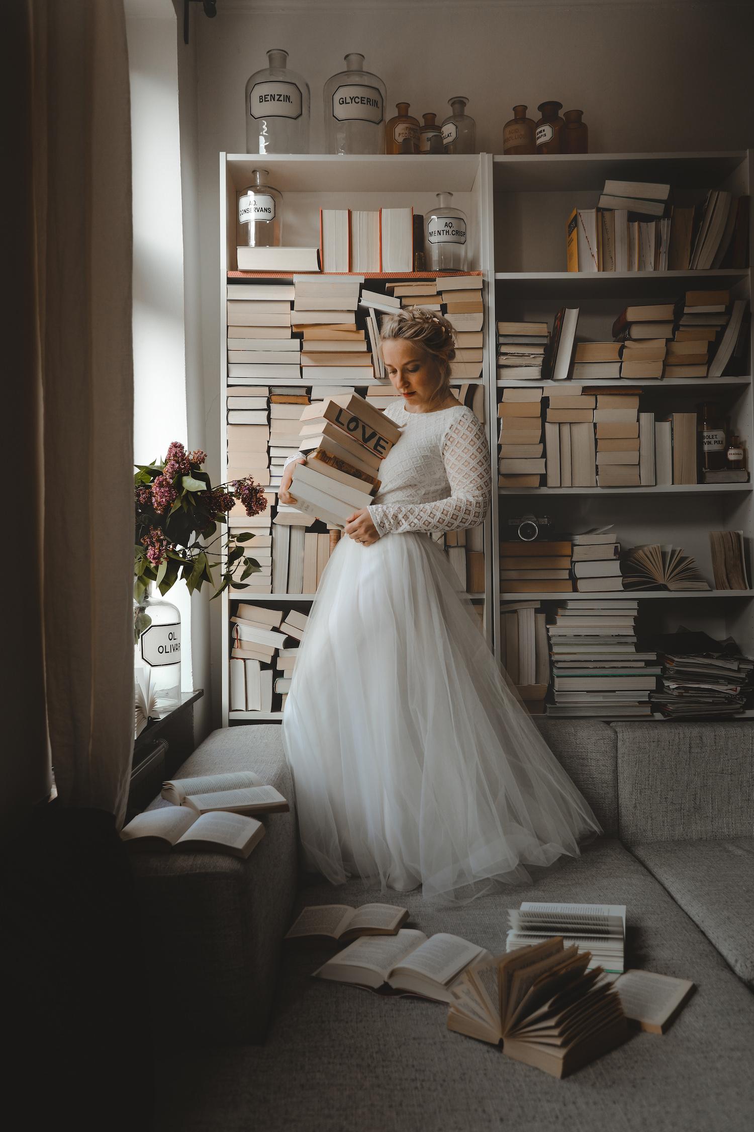 noni Brautkleider, zweiteiliges Boho-Brautkleid mit Spitzenbody und Tüllrock