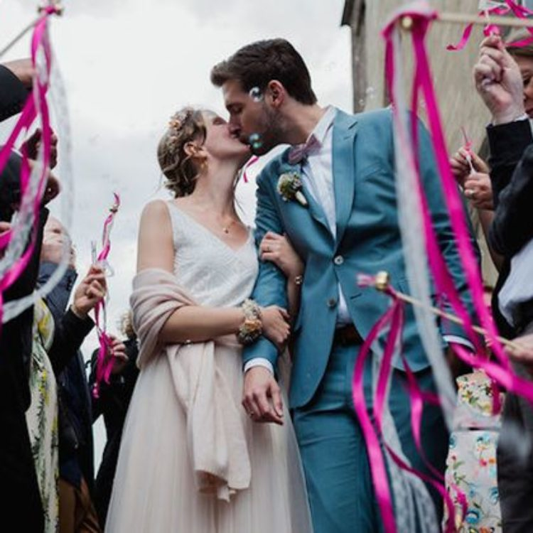 Boho-Mehrteiler zur Hochzeit mit Tüllrock in Blush und Spitzentop