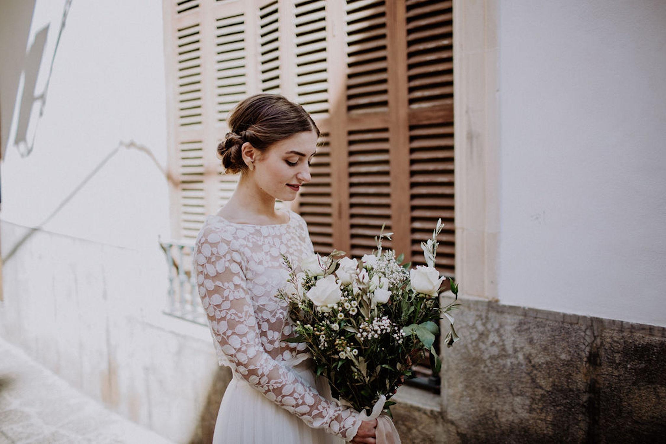 Boho Brautkleid Zweiteiler in Ivory mit Tüllrock und Spitzentop