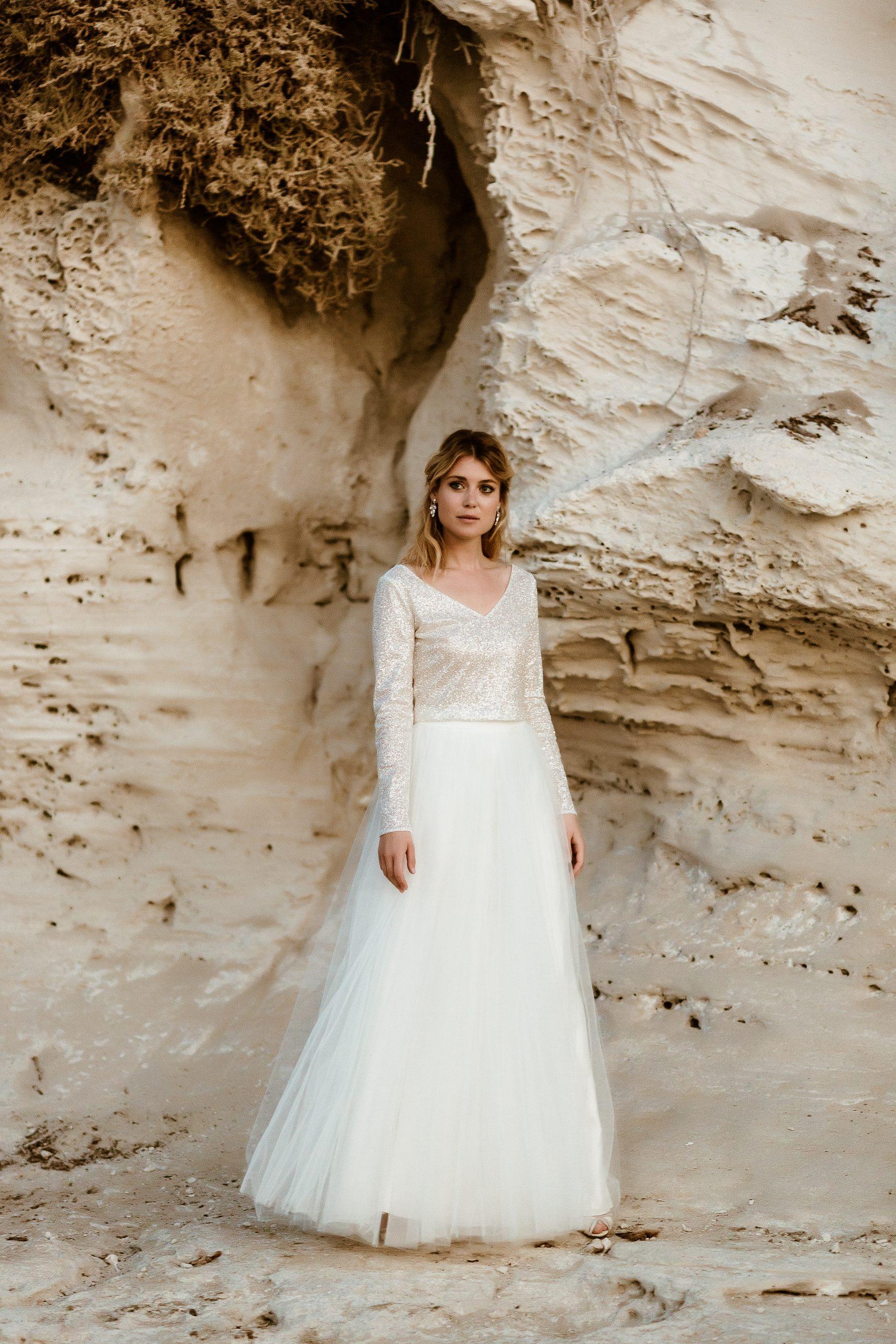 noni zweiteiliges Hochzeitskleid mit Glitzer-Top und Tüllrock