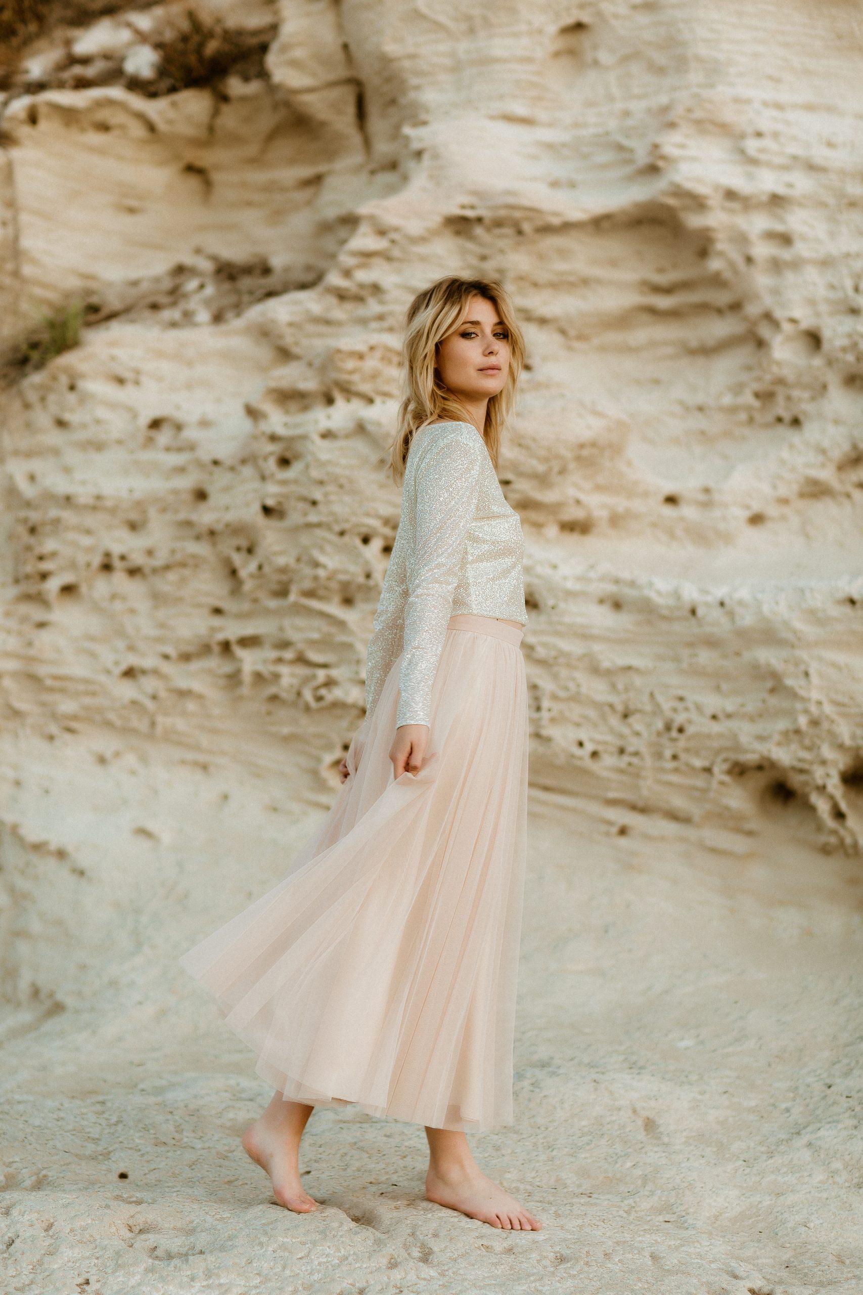 noni Boho Hochzeitskleid mit Glitzer-Top und Brautrock in Blush