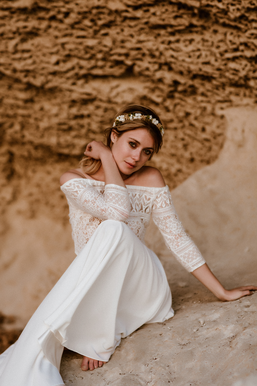 noni Hochzeitskleid, Zweiteiler-Brautkleid mit Carmen-Top aus Boho Spitze