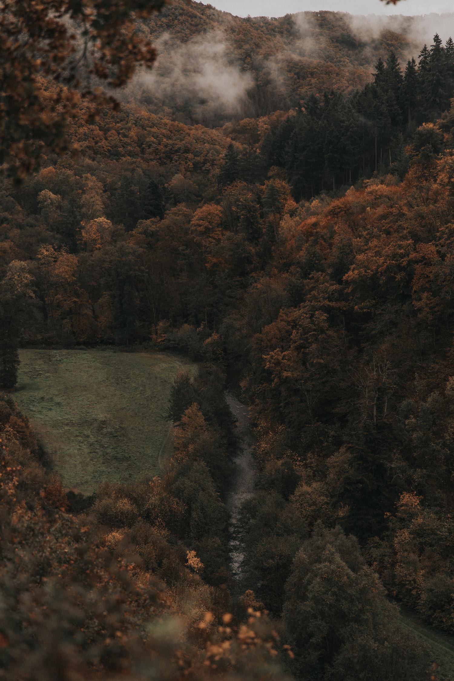 noni Brautmode Herbsthochzeit auf Burg Eltz von Influencerin beautelicieuse, Herbstlandschaft