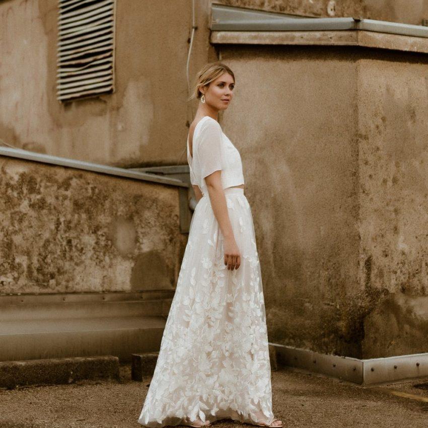 Amelie – Brautkleid Zweiteiler mit schlichtem Top und Rock aus Macramé-Tüll