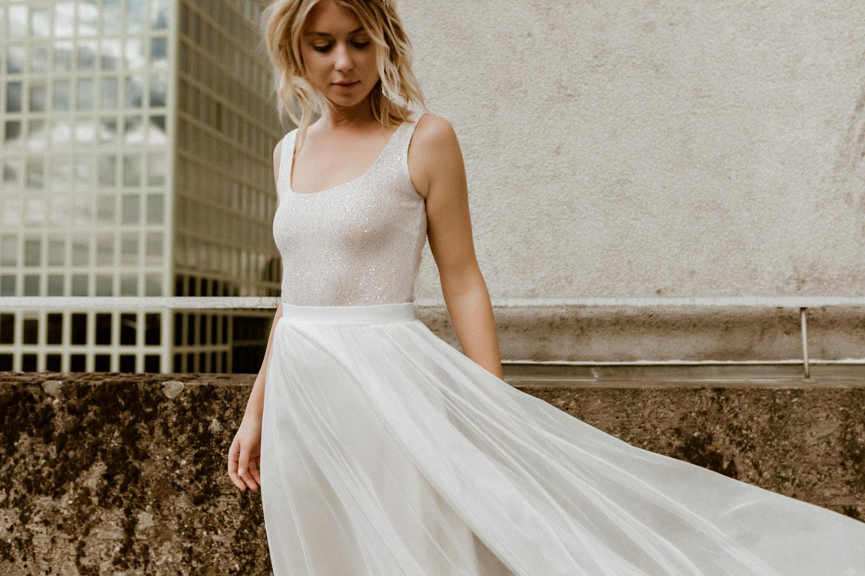 Braut Body aus feiner Spitze