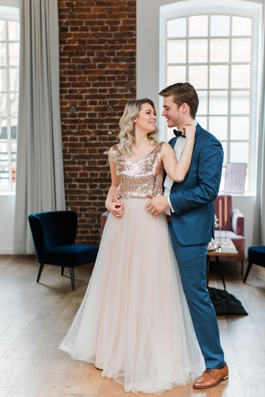 Hochzeitskleid in Blush für die Hochzeit in Roségold
