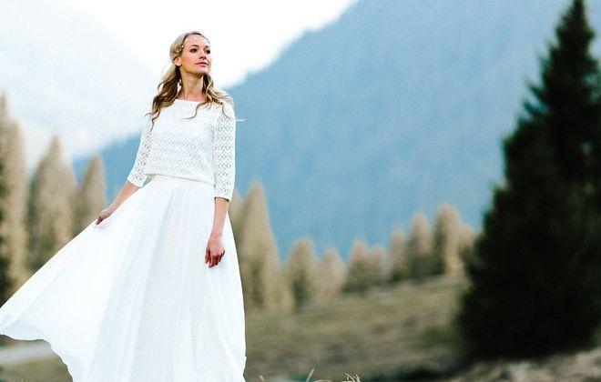 Schlichtes Hochzeitskleid, zweiteilig mit Spitzentop und Braut Rock aus Chiffon
