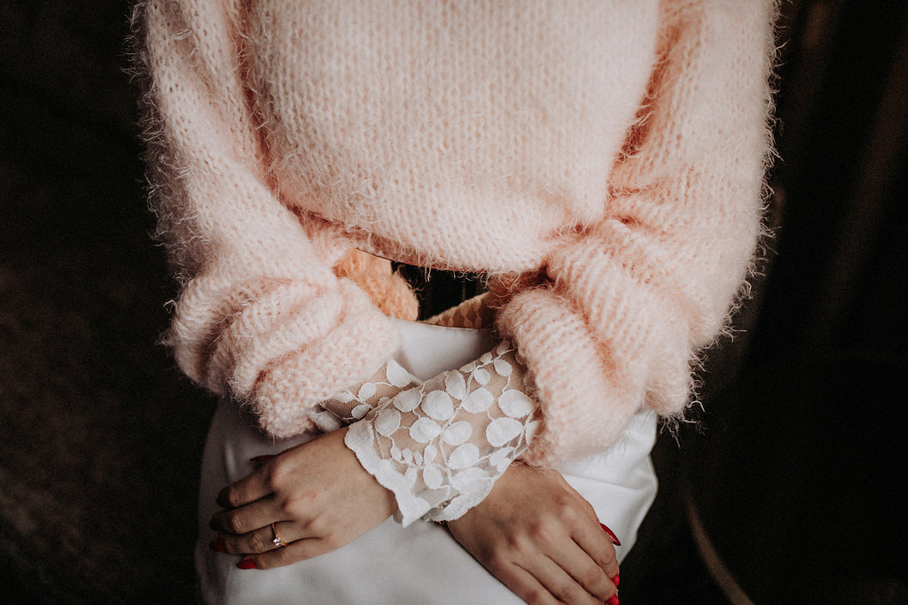 Aprikotfarbener Pullover